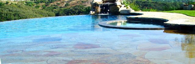 tuscan, stone, flagstone motorcourt mediterranean-pool