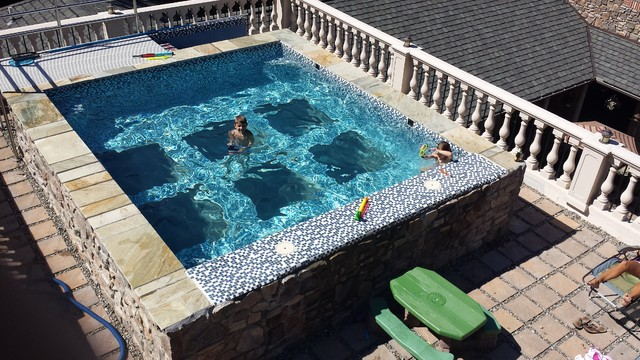 Tuscan Style Glass Bottom Rooftop Pool Mediterranean
