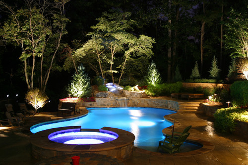 Pool area lighting ideas. Photo credit: Contemporary Pool by Woodstock Landscape Architects & Landscape Designers Artistic Landscapes