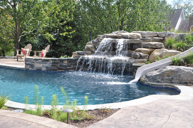 Upper saucon pool with waterslide and swim up bar tropical pool philadelphia by monogram for Swimming pools with waterslides