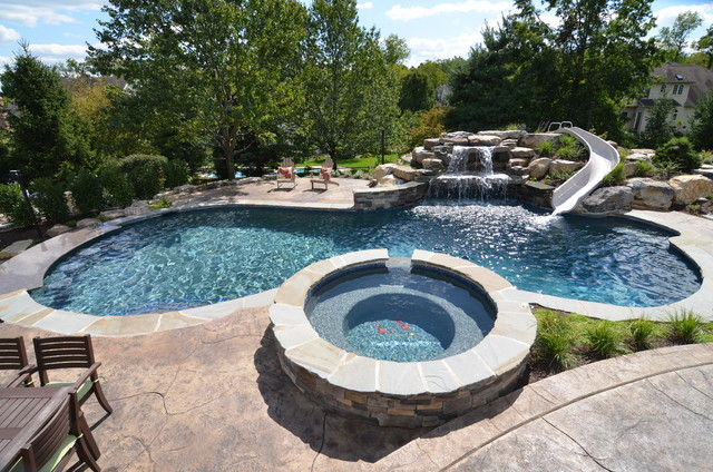 Upper saucon pool with waterslide and swim up bar for Pool design with swim up bar