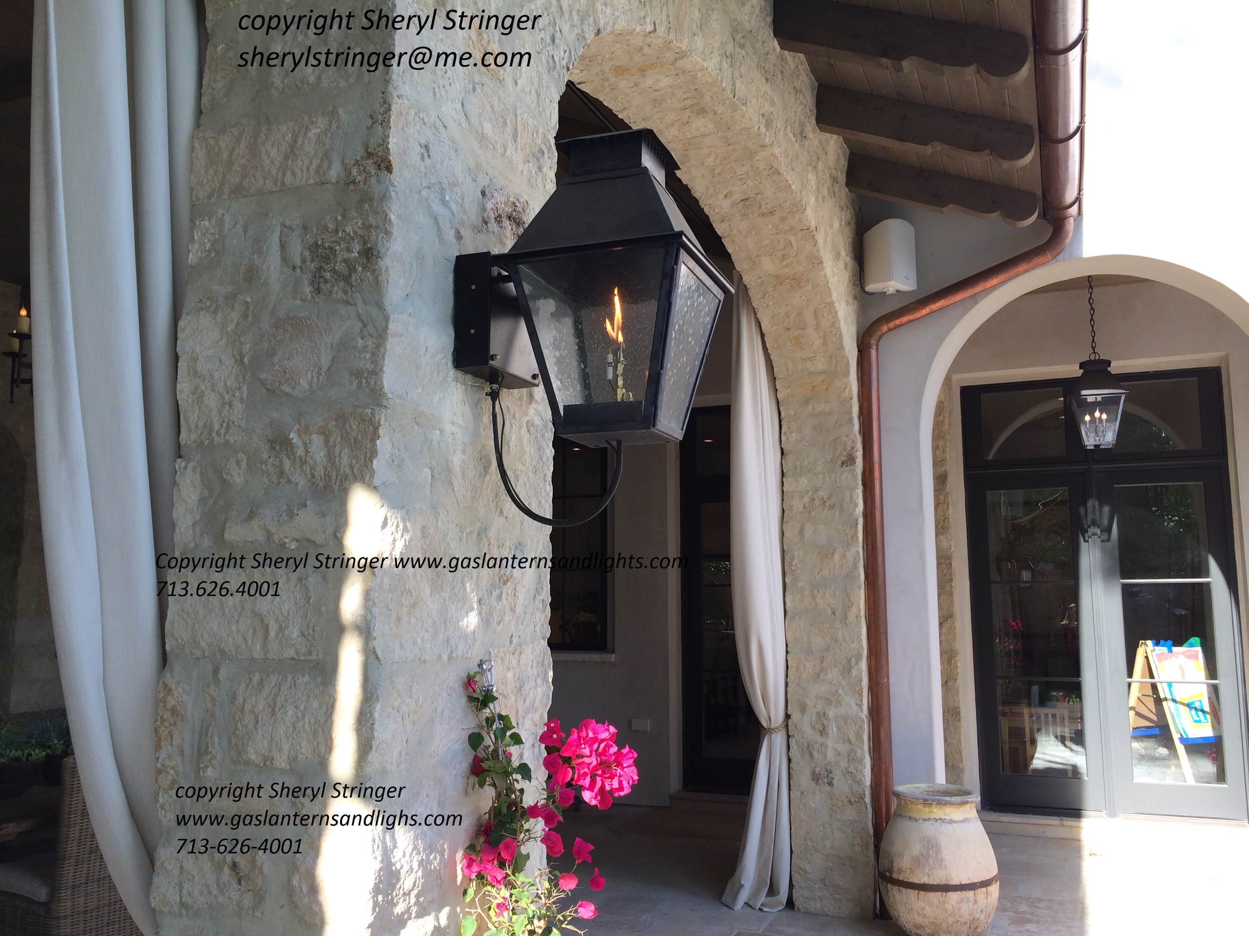 V Style Gas lantern on wall and Hanging V Electric Lantern
