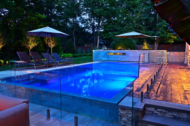 Vanishing Edge Glass Tile Pool Design Modern Pool