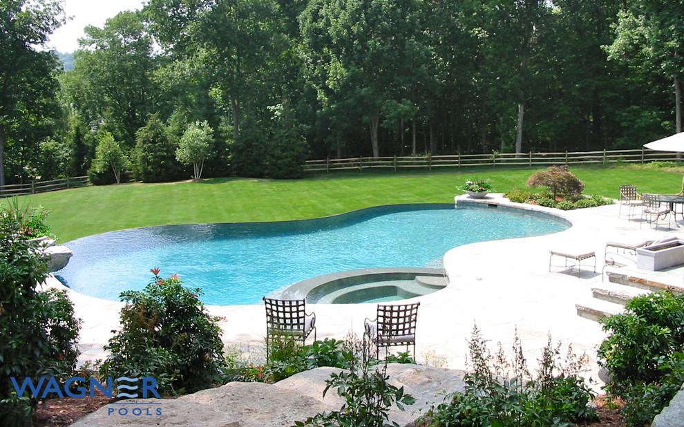 Large elegant backyard stone and custom-shaped infinity pool fountain photo in New York