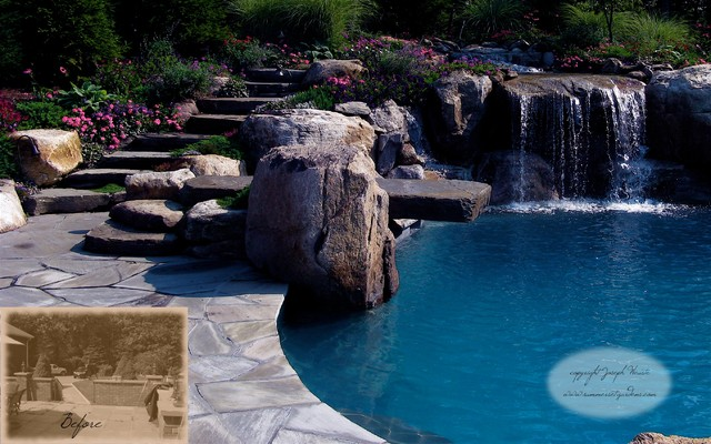 View Of Pool Waterfalls Dive Rock Natural Stone Steppers Traditional Pool New York
