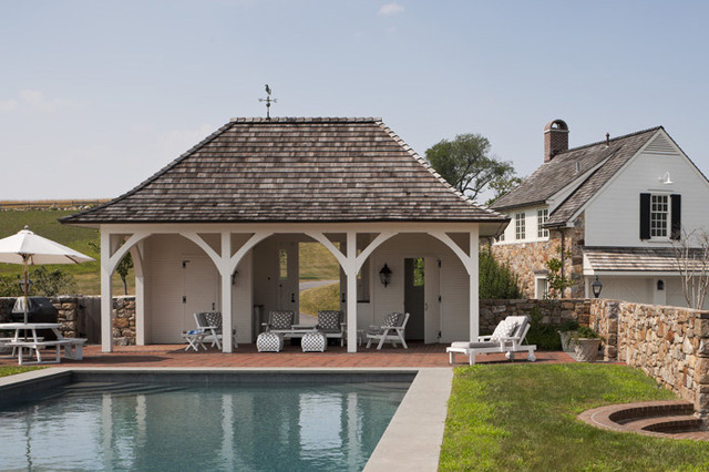 Villanova residence pool house traditional exterior for Garage and pool house combination plans