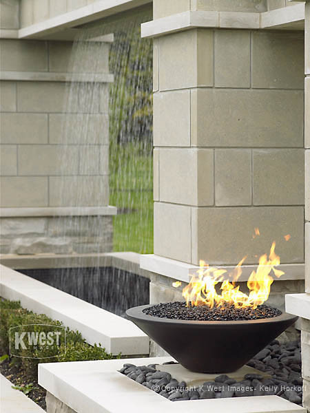 Water Feature & Gas Fire Bowl contemporary-pool