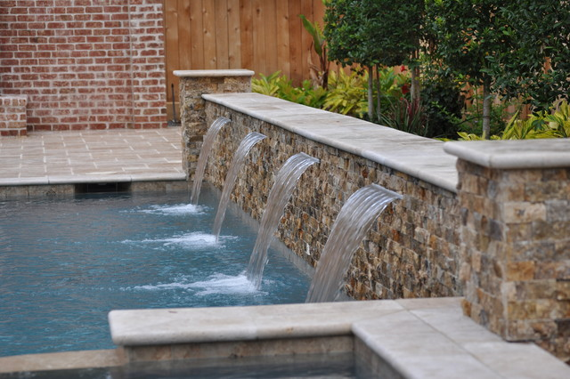 Water Features transitional-swimming-pool-and-hot-tub