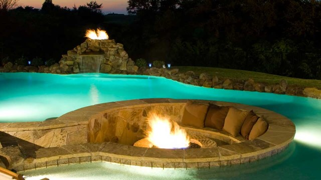 Water features fountains fire displays traditional for Fire and water features
