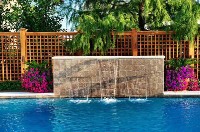 Water features swimming pool eclectic pool chicago for Swimming pool water features