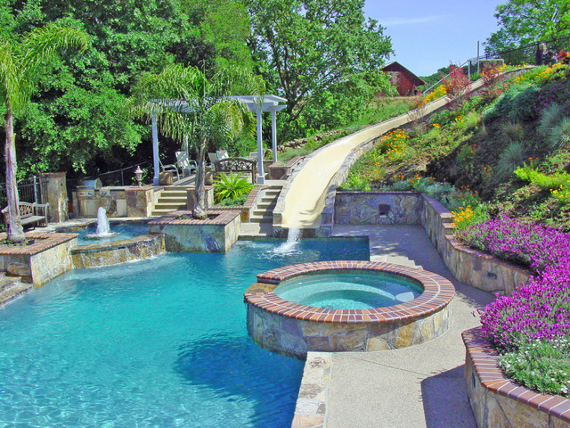 Huge Backyard Water Slide : Water slide and Fountain, Swimming Pool and Retaining Walls