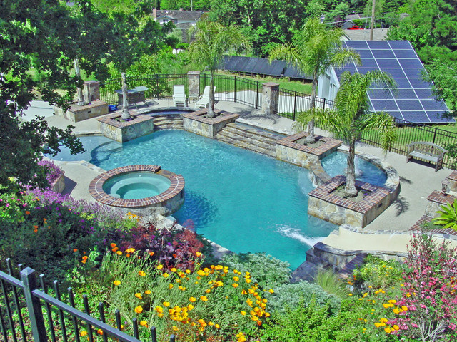 Water slide and Fountain, Swimming Pool and Retaining Walls mediterranean-pool