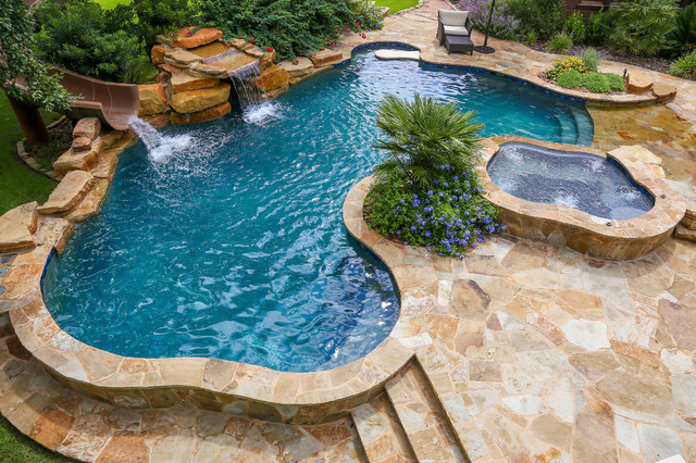 Water Slide And Waterfall Rustic Swimming Pool Hot Tub Austin By Keith Zars Pools Houzz Uk