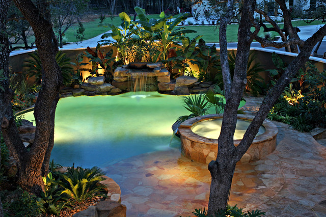 Waterfall Amp Spa With Beach Entry Tropical Pool Other