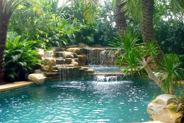 Waterfall And Tropical Garden Tropical Pool Miami