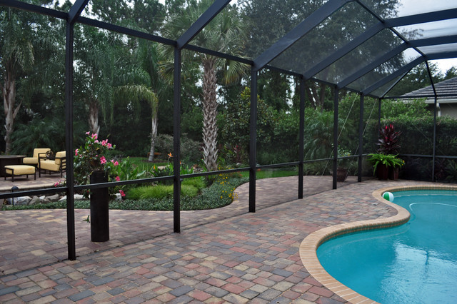 Waterfall stream with dry creek tropical pool tampa for Pool design tampa