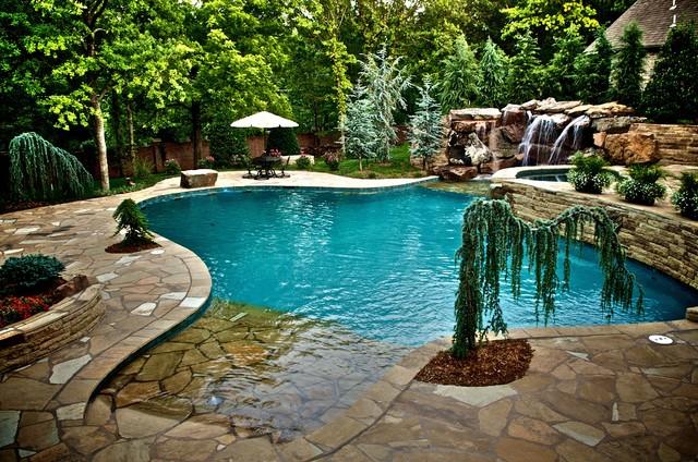 Waterfalls Connect Oklahoma Home to Pool - Mediterran - Pools ...