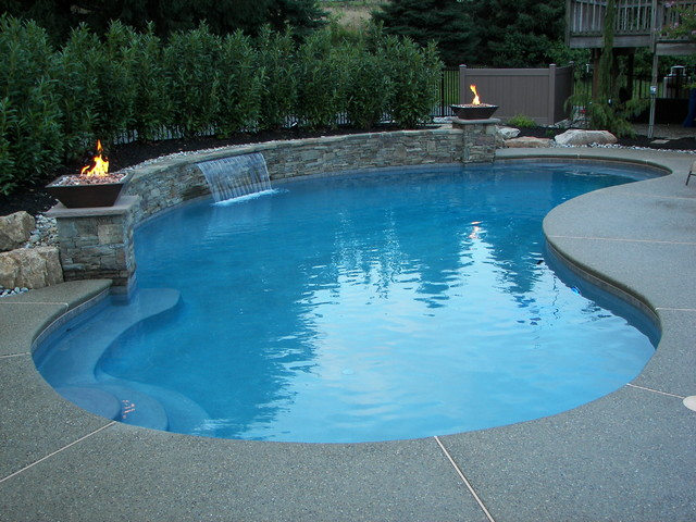 Weisenberg Township Pool With Sheer Descent Waterfall Traditional Pool Philadelphia By B
