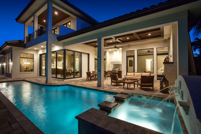 West indies waterfront home traditional pool miami for West indies house plans