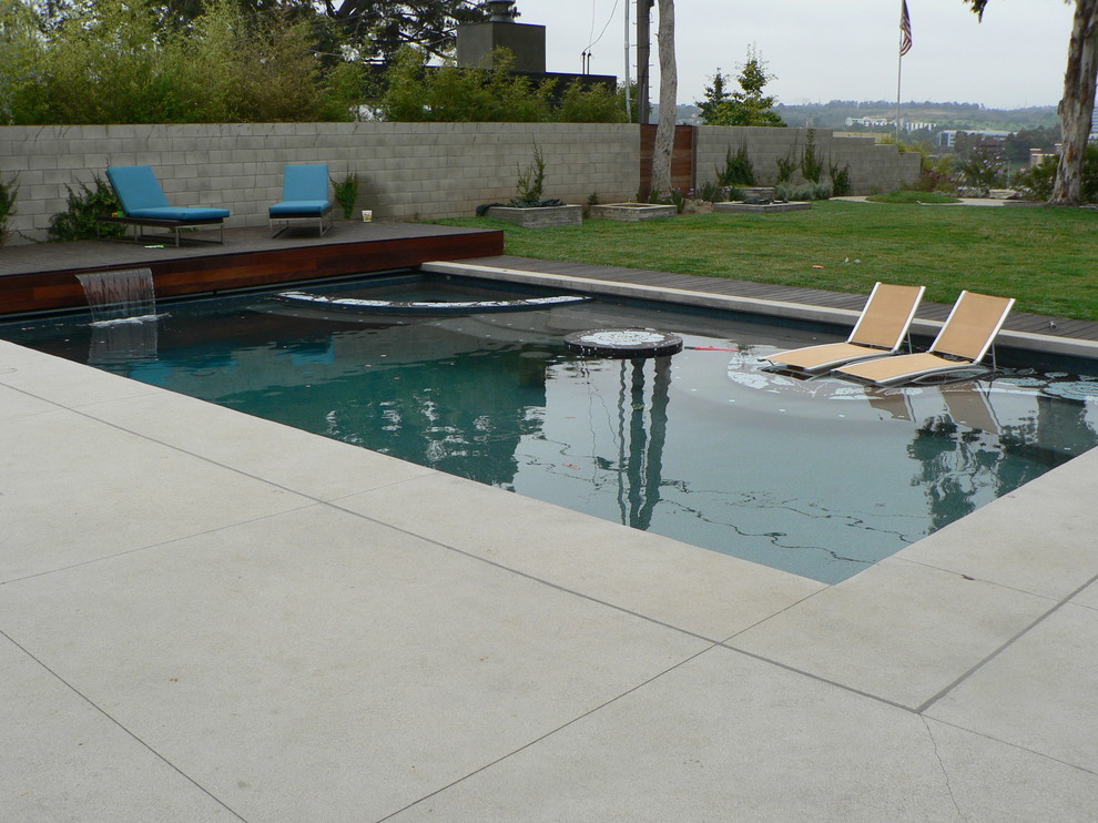 Example of a large trendy backyard concrete and rectangular lap hot tub design in Los Angeles