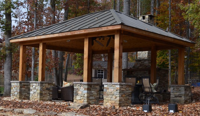 Western Red Cedar Pavilion And Fireplace Rustic Pool