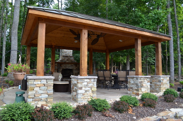 Western Red Cedar Pool Pavilion and Fireplace - Rustic - Pool - DC ...