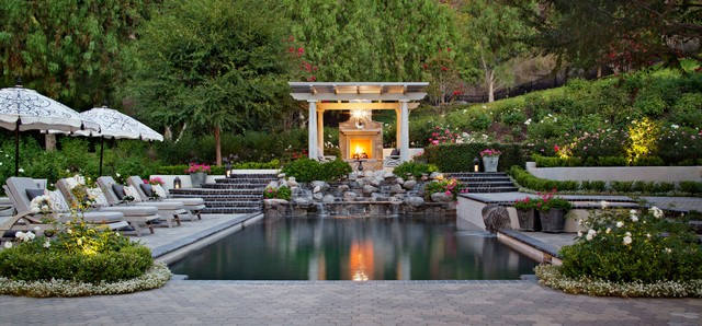 Westlake Village French Provincial Traditional Swimming Pool Hot Tub Los Angeles By