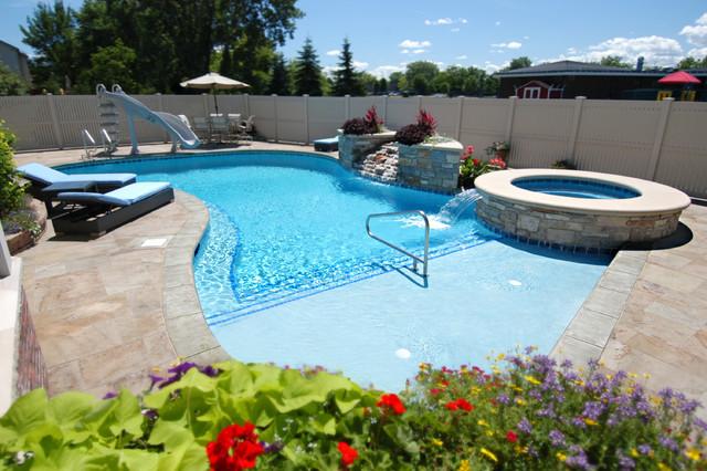 Wheeling, IL Freeform Swimming Pool and Hot Tub - Beach ...