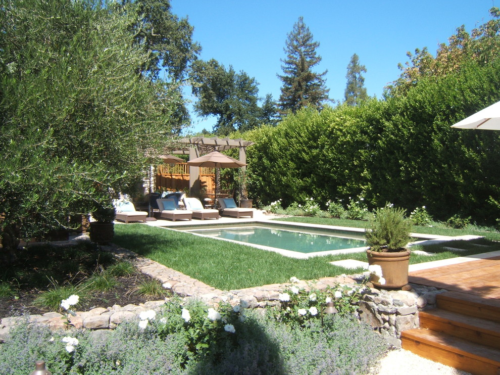 Example of a tuscan pool design in San Francisco with decking