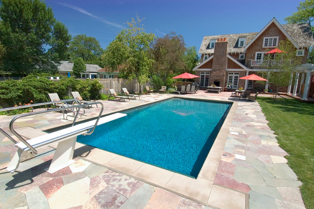 Winnetka il swimming pool with 1 meter diving board traditional pool chicago by for How many meters is a swimming pool