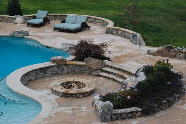 Wood Burning Firepit modern-pool