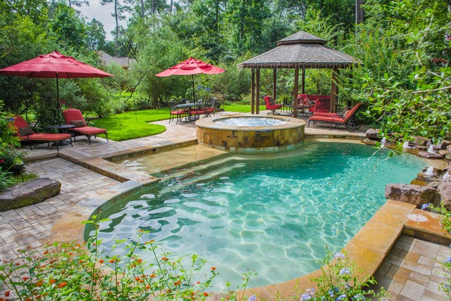 Wooded backyard oasis traditional pool houston by for Garden oases pool entrance