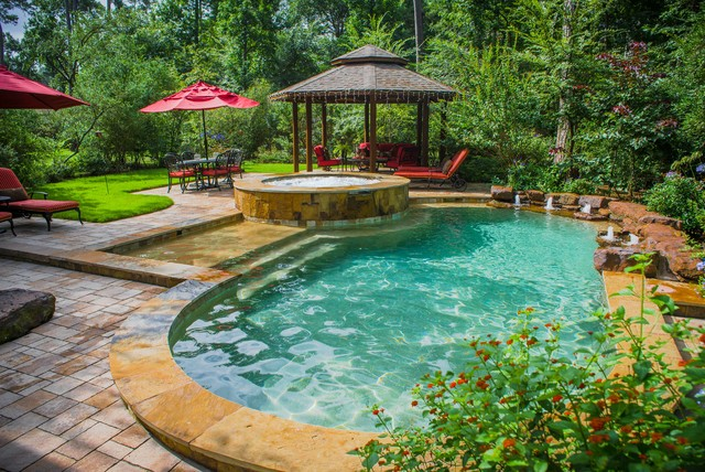 Wooded backyard oasis traditional pool houston by for Garden oases pool