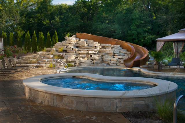Yorkville Il Freeform Swimming Pool And Hot Tub With Concrete Slide Traditional Pool