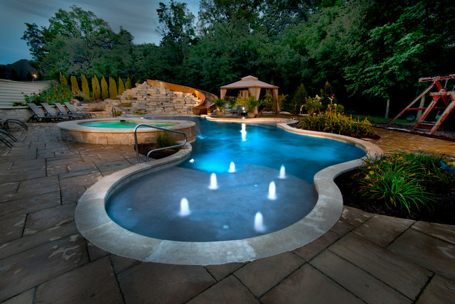 Yorkville Il Freeform Swimming Pool And Hot Tub With