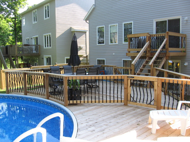 Multi Level Backyard With Pool : Multi Level Deck Above Ground Pool 500 sq ft backyard pool