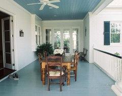 Acadian Home Dining Porch rustic-porch