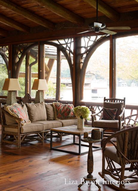adirondack lake house rustic porch atlanta by liza bryan