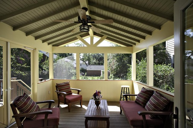 Arlington craftsman styled screen porch traditional for Craftsman screened porch