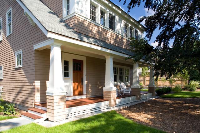 Arts crafts bungalow craftsman porch boston by for Bungalow porch columns