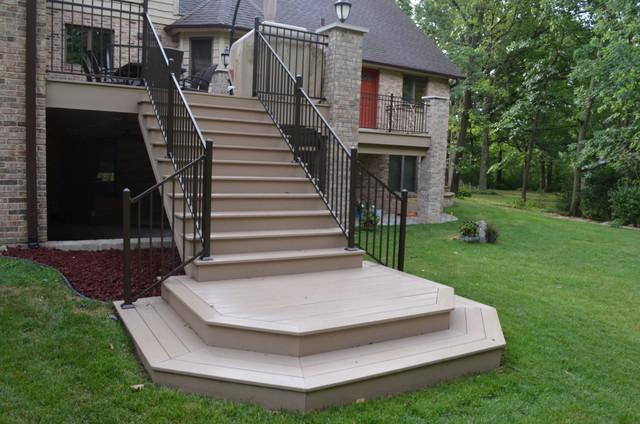 Azek composite wood deck with brick columns in homer glen illinois