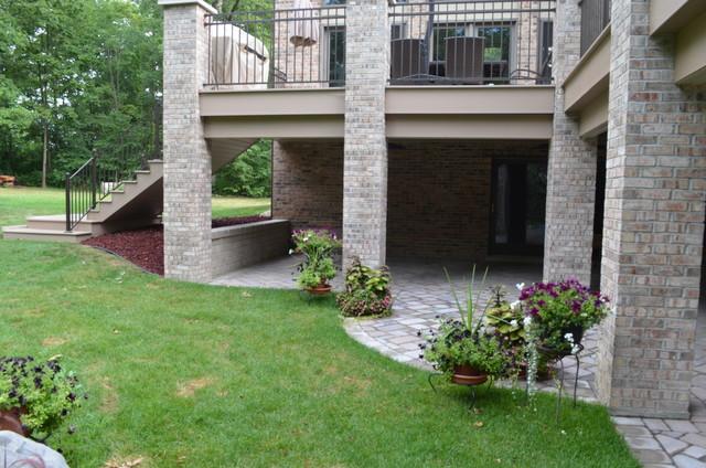 Azek Composite Wood Deck With Brick Columns In Homer Glen Illinoistraditional Porch Chicago
