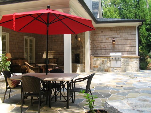 Back Porch & Backyard of Reynold's Residence @ GregMix.com traditional-porch