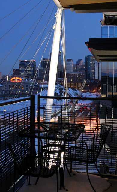 Balcony overlooking Denvers Millennium Bridge modern porch
