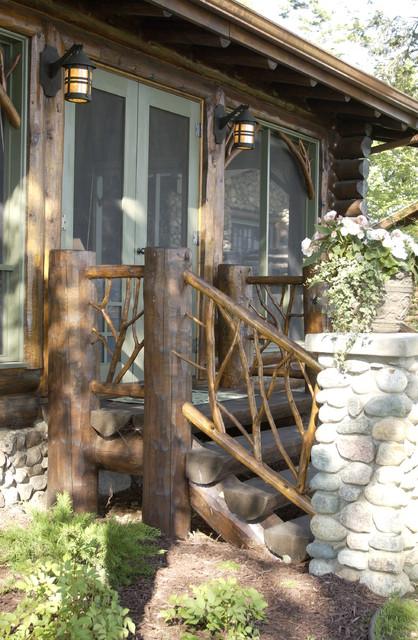 Rustic Mountian Stair Railings: Bay Lake Cabin