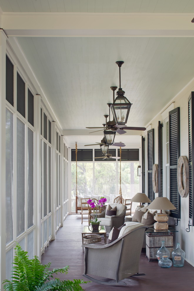 Inspiration for a coastal screened-in porch remodel in Charleston