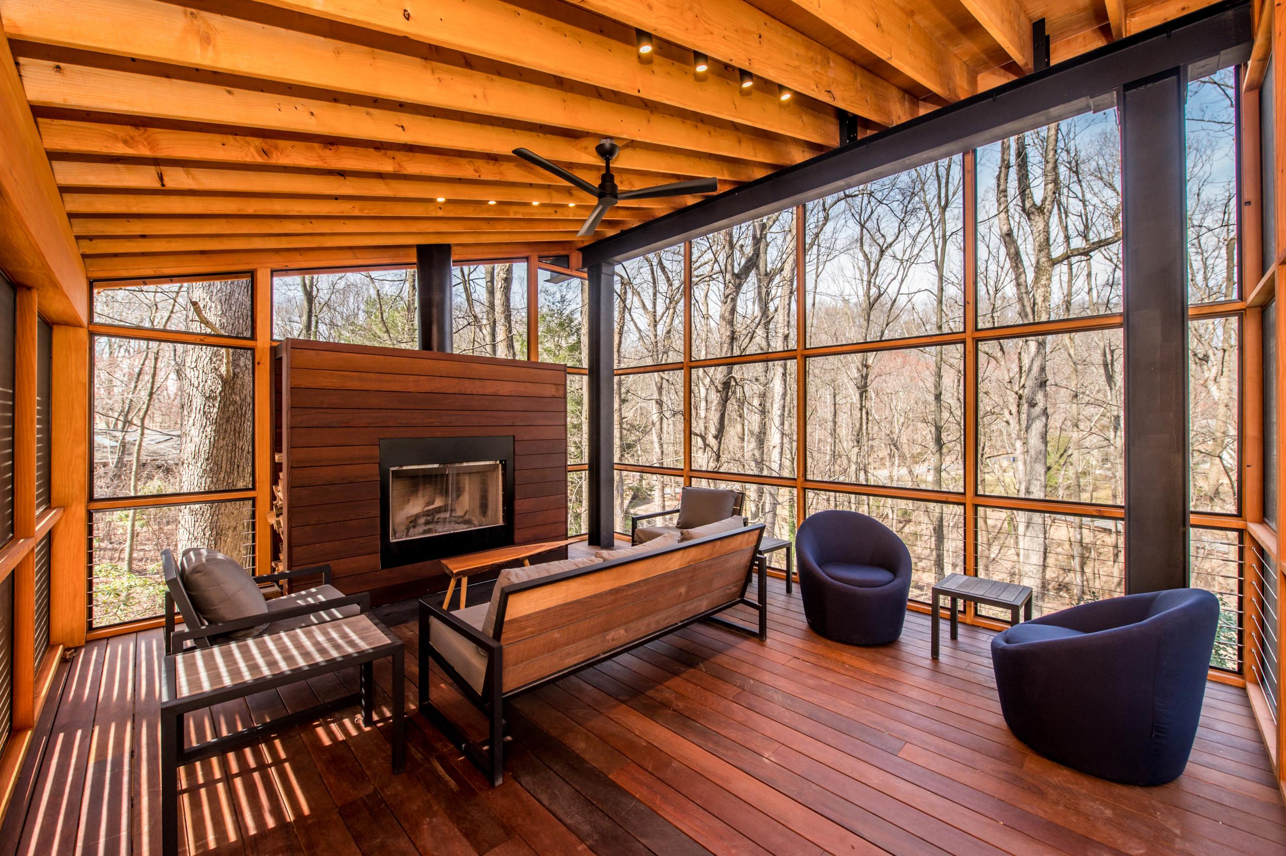 Bethesda, MD Modern Industrial Screen Porch