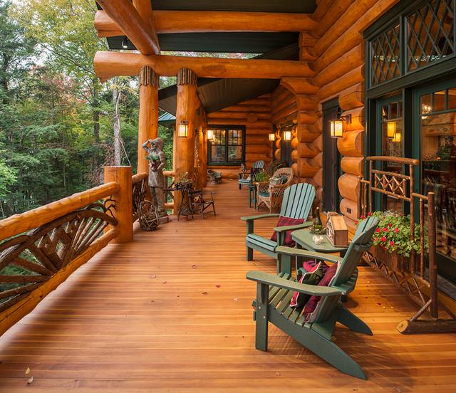 Big Moose New York Log Home Rustic Porch New York