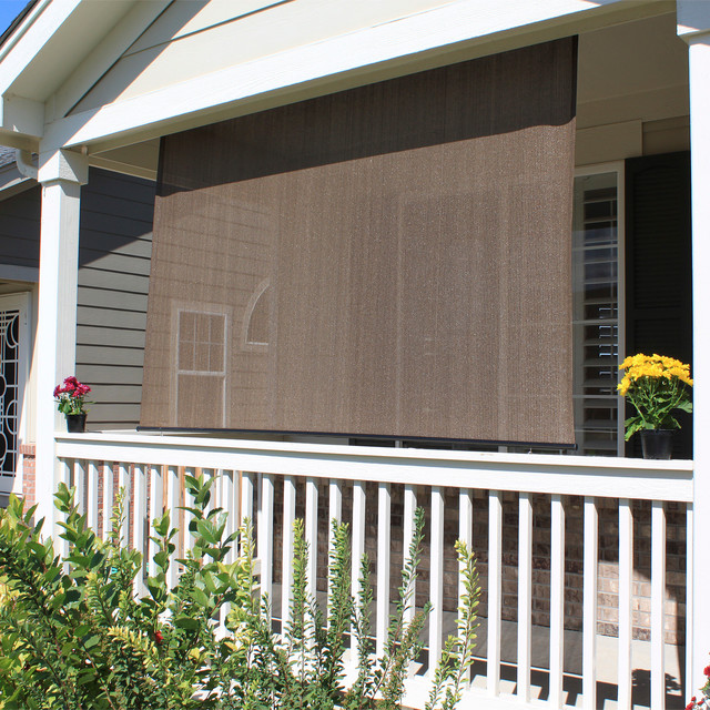 Outdoor blinds on pinterest hunter douglas blinds patio for Balcony shades