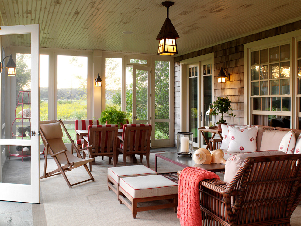 This is an example of a traditional screened-in porch design in New York.